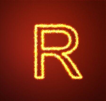 Gold star alphabet letter R  photo
