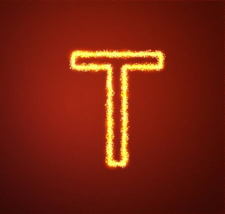 Gold star alphabet letter T  photo
