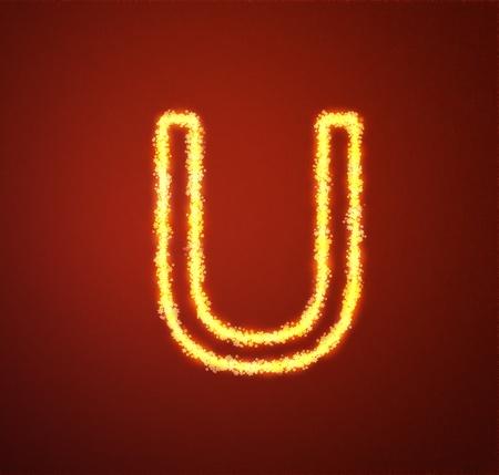 Gold star alphabet letter U  photo