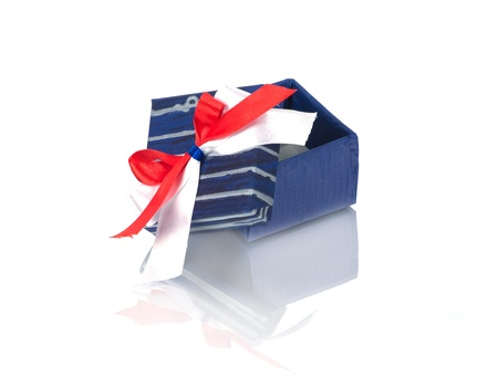 gift box with ribbon isolated on white Stock Photo - 13450157