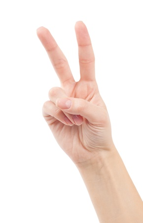 non verbal: Hand with two fingers up in the peace or victory symbol  Also the sign for the letter V in sign language  Isolated on white