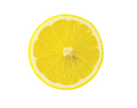 bitter fruit: slice of lemon isolated on white background