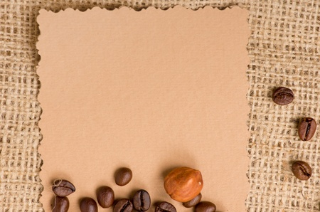 old paper for recipes and spices on burlap closeup Stock Photo - 13652358
