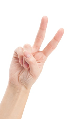 Hand with two fingers up in the peace or victory symbol. Also the sign for the letter V in sign language. Isolated on white. photo