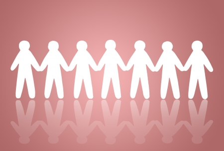 team of paper people on pink background Stock Photo - 13755799
