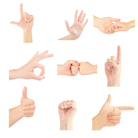 Set of gesturing hands isolated on white background Stock Photo - 13755864