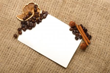 Menu Design.Old paper, coffee bean, cinnamon, lemon, burlap. Stock Photo - 13857603