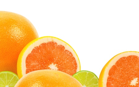 citrus fruits on white photo
