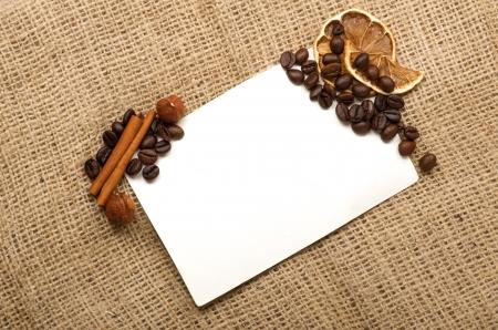 Menu Design.Old paper, coffee bean, cinnamon, lemon, burlap. Stock Photo - 13981039