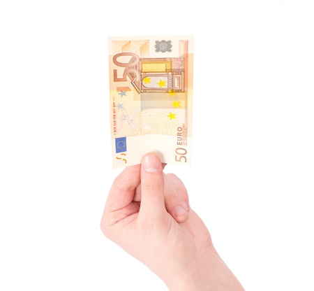 Money (Euro) in a hand isolated on white Stock Photo