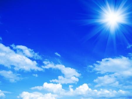 sunshine: fondo de cielo azul Foto de archivo