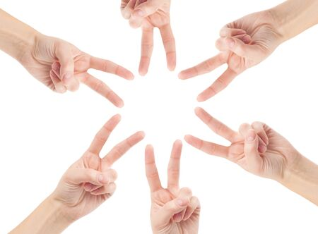 Hands of teamwork , forming the star shape photo
