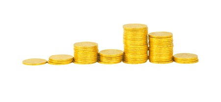 graph of the columns of coins isolated on white Stock Photo - 15105310