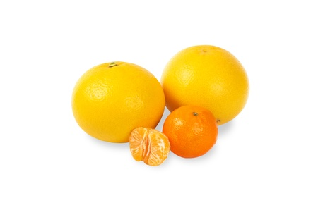 Citrus fruit on a white background photo