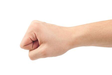Fist. Gebaar van de hand op witte achtergrond Stockfoto