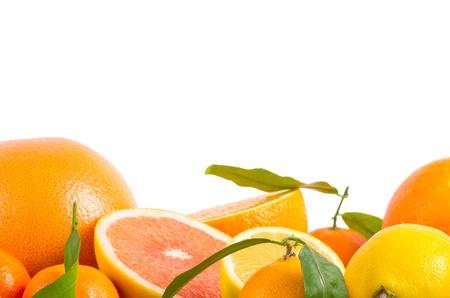 Fruits citrus on white Фото со стока
