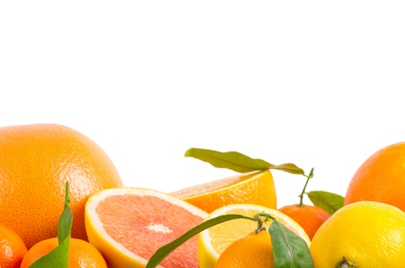 Fruits citrus on white Stock Photo