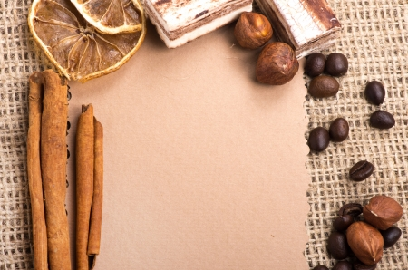 Menu Design. Old paper, coffee bean, cinnamon, lemon, burlap. Stock Photo - 15317339