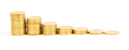 chinks: graph of the columns of coins Stock Photo