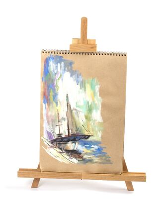 painting a beautiful yacht, isolated on a white background photo