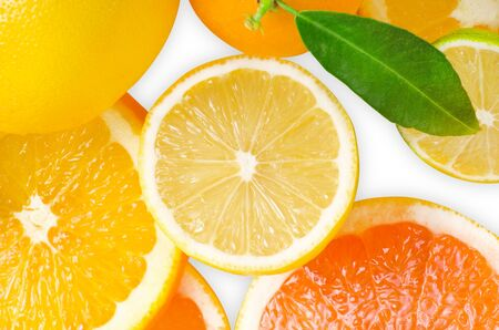 Mix of citrus slice isolated on white photo
