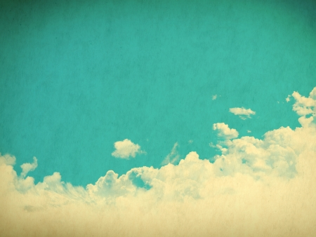 vintage wallpaper: Vintage background in the blue shade with clouds Stock Photo