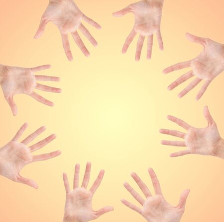 Circle made of hands isolated on beautiful background Stock Photo - 15417292