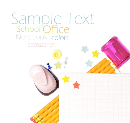 Photo of office and student gear over white background - Back to school concept Stock Photo - 15416899