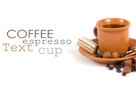 Cup of coffee with ingredients on a white background Stock Photo