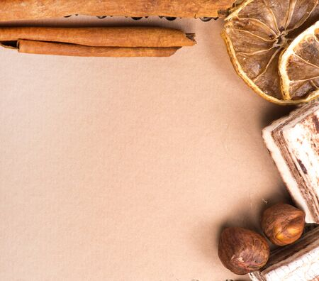 Menu Design. Old paper, coffee bean, cinnamon, lemon, burlap. photo