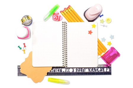 Photo of office and student gear over white background - Back to school concept Stock Photo - 15457403