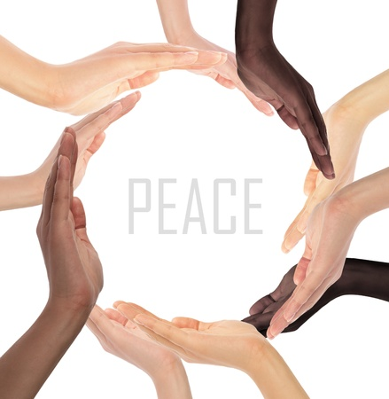 international recycle symbol: Conceptual symbol of multiracial human hands making a circle on white background with a copy space in the middle