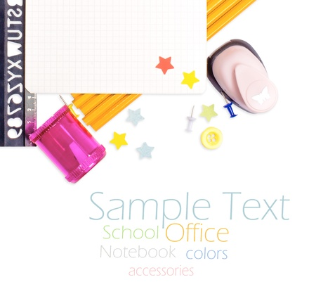 Photo of office and student gear over white background - Back to school concept Stock Photo - 15826030