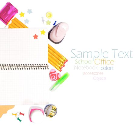 Photo of office and student gear over white background - Back to school concept Stock Photo - 15883152