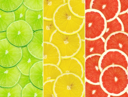 citrus fruits: Abstract background of citrus slices. Closeup. Studio photography. Stock Photo