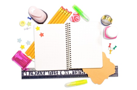 Photo of office and student gear over white background - Back to school concept Stock Photo - 16473680