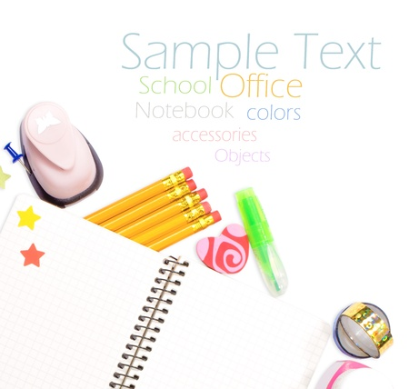 office and student gear over white background - Back to school concept Stock Photo - 17107099