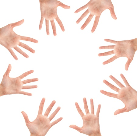 Circle made of hands isolated on white background Stock Photo - 17235728