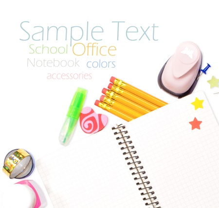 Photo of office and student gear over white background - Back to school concept Stock Photo - 17235723