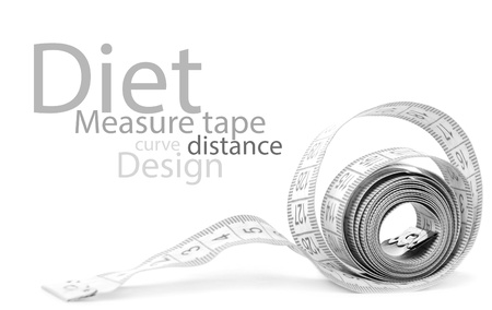 measure waist: Measuring tape of the tailor for you design isolated on white Stock Photo