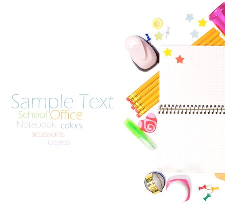 Photo of office and student gear over white background - Back to school concept Stock Photo - 17370052