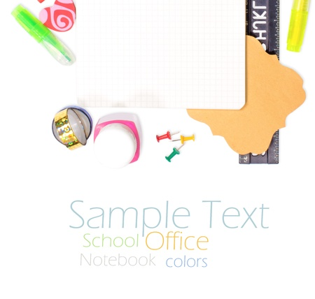 Photo of office and student gear over white background - Back to school concept photo