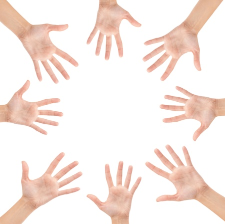 Circle made of hands isolated on white background Stock Photo - 17462915