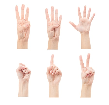 Counting woman hands  0 to 5  isolated on white background Stock Photo - 17462950
