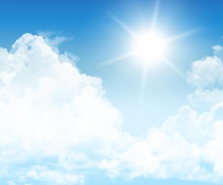 himmel mit wolken: Beautiful Blue Sky Background Template mit etwas Platz für Input Text Message Below Isolated on Blue