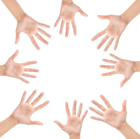 Circle made of hands isolated on white background photo