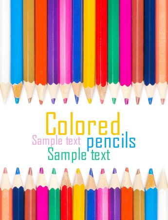 Set of color pencils for creativity on a white background photo