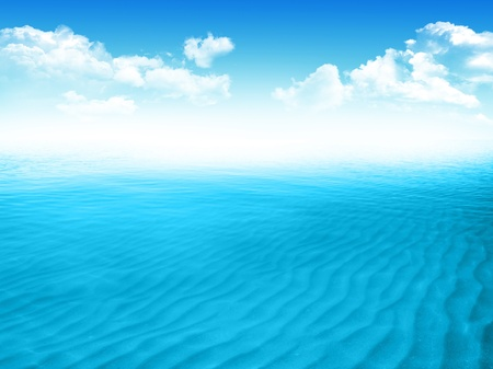 Blue sea with waves and clear blue sky photo