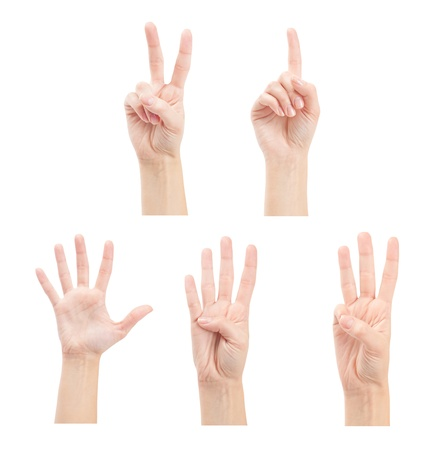 Counting woman hands (1 to 5) isolated on white background photo