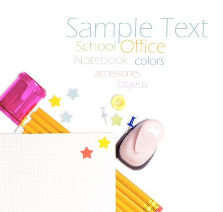 Photo of office and student gear over white background - Back to school concept Stock Photo - 17484135